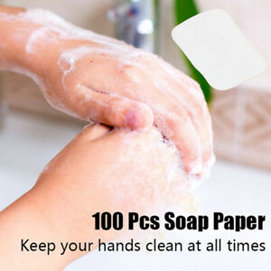 100×Portable Washing Slice Sheets Bath Hand Travel Scented Foaming Soap PapM.mc