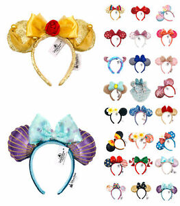 41 Styles Disney Park Cos Minnie Mouse Ears Bow Sequined Belle Mickey Headband