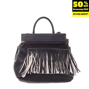 RRP €1195 ELENA GHISELLINI Leather Backpack Bag Fringes Zipped Made in Italy