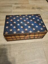 rustic wooden us american flag box