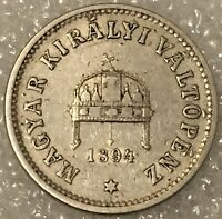 1894 KB Hungary 10 Filler Coin Franz Joseph I. Free combined Shipping.