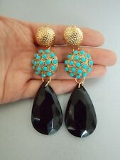 Turquoise and Black Clip-On Statement Earrings -UK SELLER