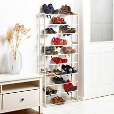 Vinsani Shoe Rack With Plastic Plated Tubing & Plated Steel Frame White 10 Tier