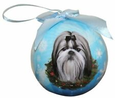 """Shih Tzu with Bow-Bk & Wh-Shatterproof Ball Ornament-3""""- by E & S Pets"""