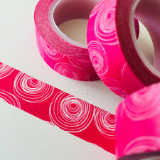 WASHI TAPE SWIRLS ON DEEP PINK 15MM X 10MTR ROLL PLANNER WRAP CRAFT SCRAP