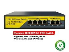 4ch PoE Netzwerk Switch Hub Power Over Ethernet IP KAMERA NVR 2 Uplink-Ports