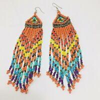 Beaded Shoulder Duster Earrings Orange Multi Colored Seed Bead Dangle Pierced