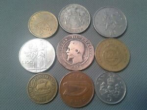 OLD COIN LOTS **World/Foreign coins 9 OLD COINS!! *COLLECTIBLES*
