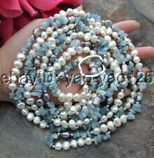 "93"" White Baroque Pearl Blue Aquamarine Necklace"