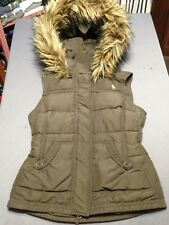 ABERCROMBIE FITCH Brown PUFFER DOWN VEST Women's SMALL Youth LARGE FAUX FUR Hood