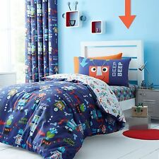 Childrens Boys Robot Double Duvet Quilt Cover Set Catherine Lansfield Bedding