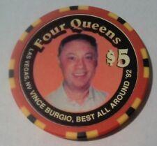 1996 FOUR QUEENS CASINO LAS VEGAS NEVADA $5.00 VINCE BURGIO GAMING CHIP 1996!