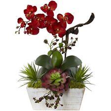 Nearly Natural Seasonal Orchid & Succulent Garden w/White Wash Planter - Autumn