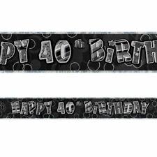 Black Happy 40th Birthday Foil Banner (3.6 m) NEW