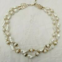 Chic 50s Glamour Plastic Bead Double Strand Necklace Pearl White Gold Tone