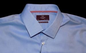 M&s Sammlung Bnwt Luxus Baumwolle Tailored Fit blau Hemd Kosten 45 17.5 44/45