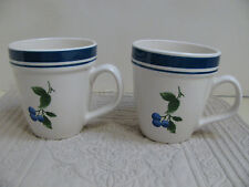 L L BEAN - Set of 2 Mugs - Blueberry Pattern - Ivory with Blue and Green