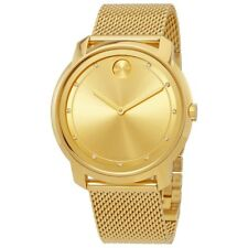 Movado Bold Swiss 11 Diamonds Gold Sunray Dial Mesh Unisex Watch 3600460 Sd9