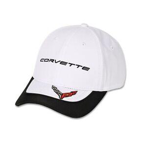 C8 Corvette White Performance Hat with Carbon Accent Bill