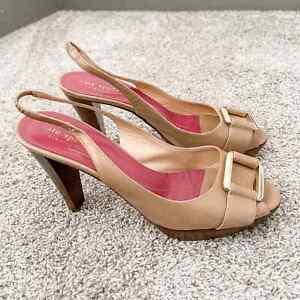 Kate Spade Women's Nude Open Toe Belted Heels, Size 7.5