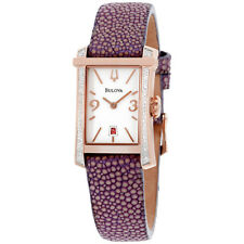 Bulova Diamond White Dial Leather Strap Ladies Watch 98R197