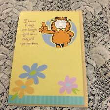 Greeting Card Get Well Garfield The Cat flowers