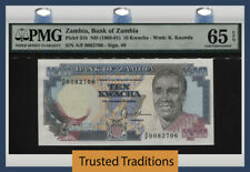 Tt Pk 31b Nd(1989-91) Zambia Bank Of Zambia 10 Kwacha Pmg 65 Epq Gem Unc!