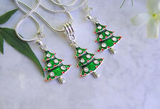 Enamel & Rhinestone Christmas Tree Earrings & Necklace Set. 925 Silver Earrings