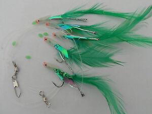5 Hook Lumi Head Hokkai Rig  (3 packs) mackerel feathers/bass/pollock/cod/boat