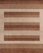 Tribal Striped Gabbeh Hand-Knotted Oriental Area Rug Living Room Carpet 8'x10'