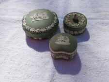 New Listing3 Wedgwood Green Jasperware Trinket Box's