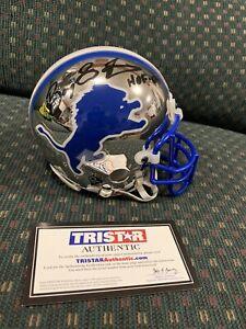 """BARRY SANDERS """"HOF 04"""" Signed Chrome Mini Helmet Tristar COA HOF Detroit Lions"""