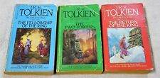 LORD OF THE RINGS Complete 3 Book Set J.R.R. TOLKIEN Vintage 1980's Paperbacks