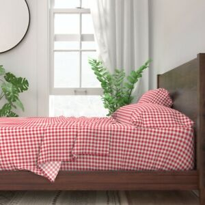 Check Summer Red And White Picnic Plaid 100% Cotton Sateen Sheet Set by Roostery