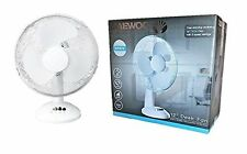 """Daewoo 12"""" Inch Desk Top Fan White Oscillating 3 Speed Cooling Air Home Office"""
