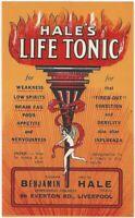 Vintage Hale's Life Tonic Label -Liverpool Chemist Patent Medicine Medical