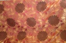 2 metres Prestigious Chrysanthemum Design Faux Silk Fabric In Terracotta