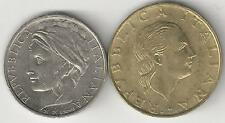 2 DIFFERENT COINS from ITALY - 100 & 200 LIRE (BOTH DATING 1998)