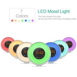 Natural Wake-Up Light_Sensor FM Radio Night Lamp Sunrise Alarm Clock RGB 7 Color