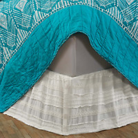 JASMINE WHITE King Bed Skirt Dust Ruffle Lace Cottage Country Chic Cotton