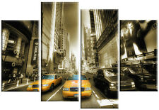 LARGE CANVAS NEW YORK YELLOW TAXIS SEPIA WALL ART MULTI SPLIT 4 PANEL 100 cm