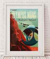 "SpaceX Mars travel poster Olympus Mons Giclée 24""x36"" tesla  24x36"