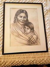 RARE V FINE PENCIL SKETCH PORTRAIT NM NAVAJO MADONNA INDIAN WOMAN D KUSIANOVICH