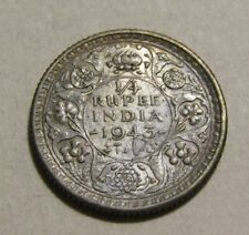 India-British 1943-C 1/4 Rupee Silver Coin