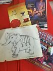 Vintage Martin Breithaupt drowning painting 1951s Baby elephant/Coca Cola & more