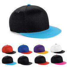 Beechfield Youth Size Snapback Cap Kappe flacher Schirm Kontrast Farben Neuware