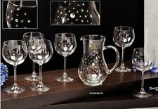 Six Crystal Wine Glasses on a Long Stem and Decanter, Crystals Inlaid, 6+1 pcs