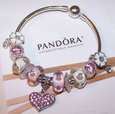 Authentic PANDORA Sterling Silver Bangle Bracelet Pink European Charms New