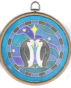 Silkcraft Silk Painting - Habotai 8 Suncatcher - 18cm diameter - Penguin Design