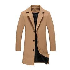 Men's British Casual Wool Outwear Long Overcoat Coat Jacket Trench Winter Warm